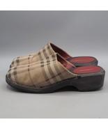 Burberry Plaid Nova Check Wooden Mules Clogs Womens Size 6.5 - $94.04