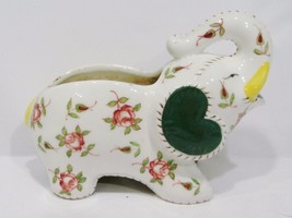 antique ceramic multi-color flower elephant planter - $25.00