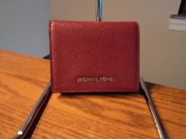 Authentic Michael Kors oney Pieces Mulberry Flap Credit  Card Holder Lea... - £39.39 GBP