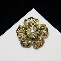 Vintage Crown Trifari Brooch Floral Ribbon Bow Alfred Philippe PatPend Pin  - $109.13