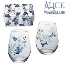 Disney Alice in Wonderland blue Rose Pair tumbler glass made in Japan Gift - $78.21