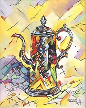 "Akimova: COFFEE POT, acrylic, 8""x10"", still life, food - $45.00"
