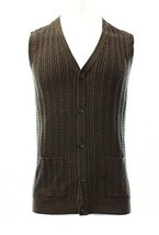 Tasso Elba Men's Cable-knit Brown Heather Vest Knit Pullover Sweater - $29.99