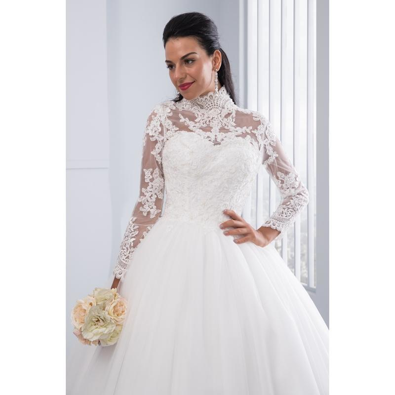 High Neck IIIusion Back Long Sleeve Wedding Dress Lace Ball Gown Wedding Gowns image 7