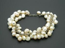 Pearl Cluster .925 Sterling Silver Chain Link Bracelet Vintage - $49.49