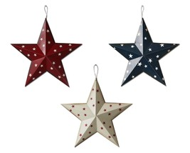 Americana Patriotic Barn Metal 3D Stars Wall Decor Set of 3 July 4th Decor - £8.94 GBP