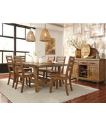 ECHO - 7pcs Modern Brown Solid Wood Dining Room Table & Chairs Set Furni... - $1,298.72