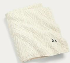 "Ralph Lauren ""Highland"" Sweater Knit Throw Blanket 54"" X 72"" White Nip Rare $355 - $164.14"