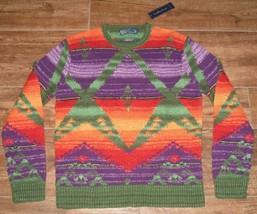 Polo Ralph Lauren Linen Indian Motif Crewneck Sweater MENS M $995 HAND KNIT - $241.88