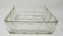 Vintage Mid Century Picnic Vertical Hatched Glass Casserole and Serving ... - $19.75