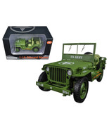 US Army WWII Jeep Vehicle Green 1/18 Diecast Model Car by American Diorama - $52.78