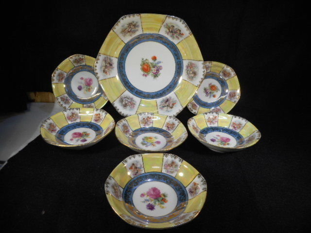 Vintage Czech Porcelain Lustreware Union Berry Bowl and 6 Small Berry Bowls