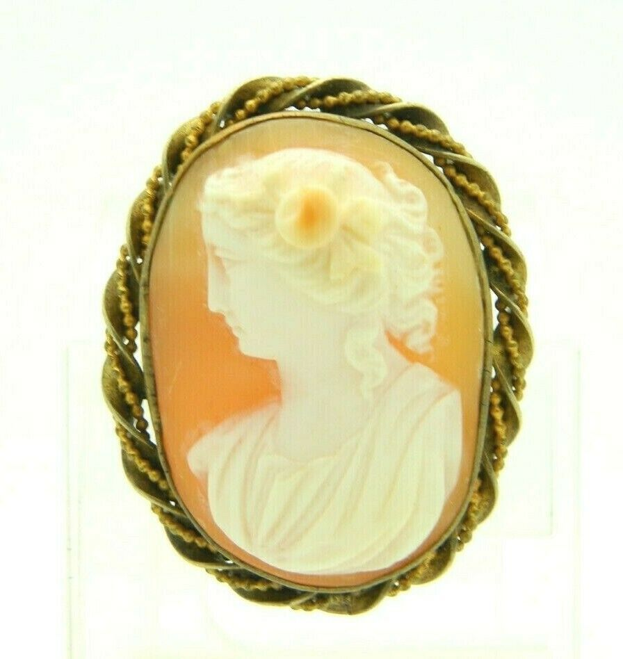 Gold Filled Antique Victorian Shell Cameo Brooch Pin Female Left Facing Bust - $59.39