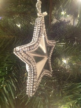 Christmas Ornament Silver Metal Star Rhinestone Crystals - $13.37