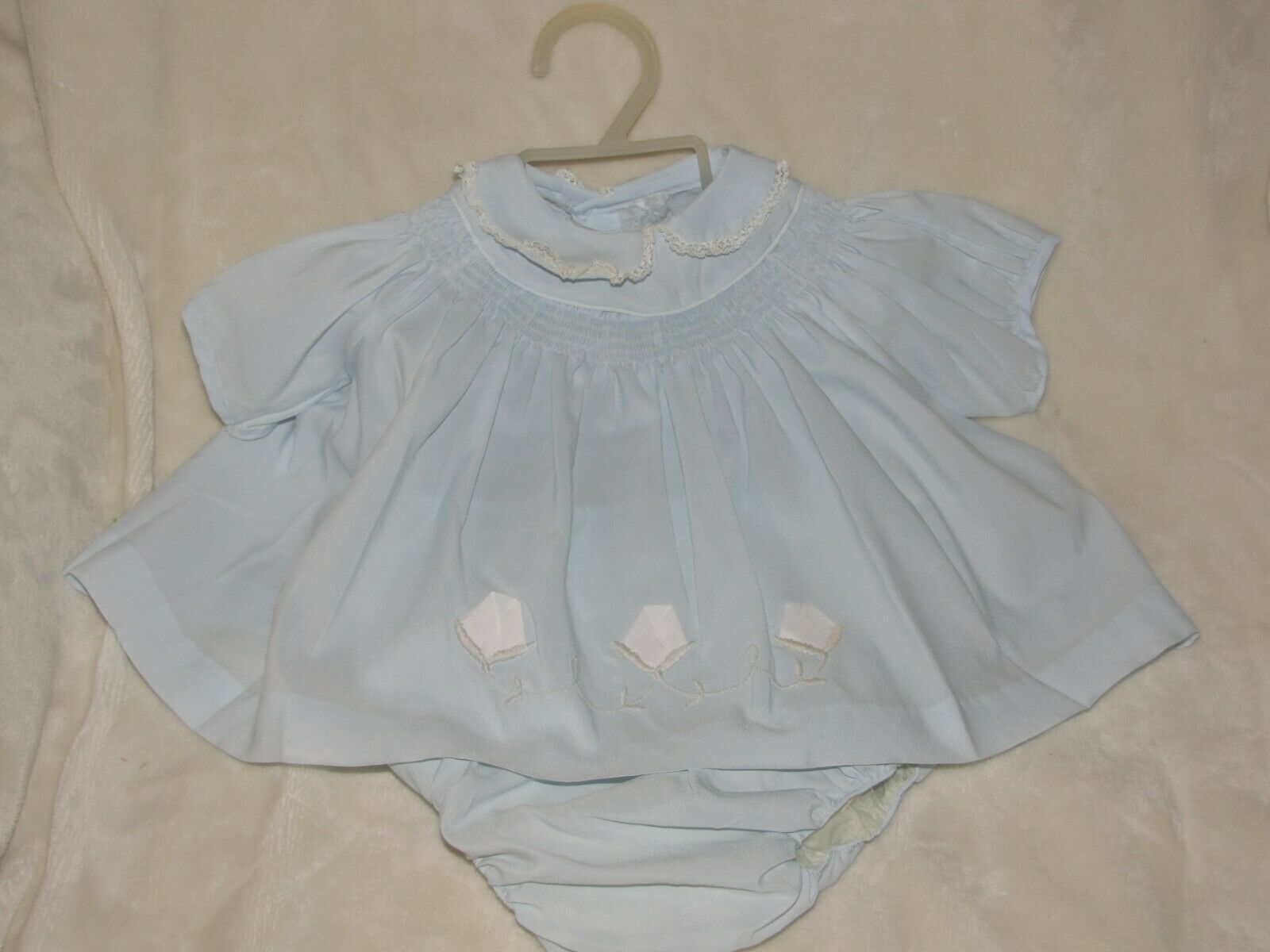 Primary image for Vintage Pale Blue Smocked Carters Baby/Toddle Girl Dress 3d Flowers Diaper Cover