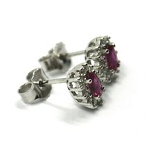 18K WHITE GOLD FLOWER EARRINGS OVAL RUBY 0.55 CARATS, DIAMONDS FRAME 0.28 CARATS image 4