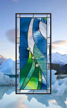 Stained Glass Leaded Window Abstract Wind & Water - $297.00