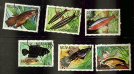 Nicaragua -1981- Selection of 6 Tropical  Fish Cancelled Lightly Hinged ... - $1.50