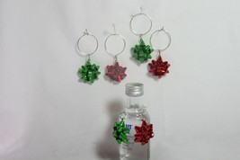 Wine Glass Charms (new) (qty 6) RED & GREEN BOWS - $8.35