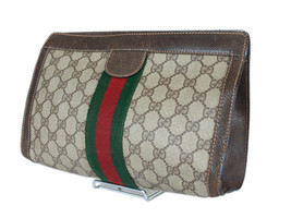 Authentic GUCCI GG Pattern PVC Canvas Leather Browns Clutch Bag GP2011 - $198.00
