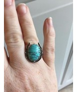 lucky horseshoe ring with 13x18 turquoise cabochon - $14.85
