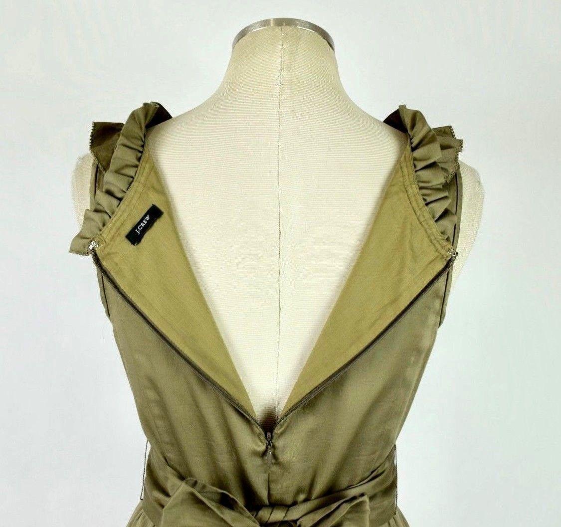 J.Crew Olive Ruffled Cotton Boat Neck Knee Length Shift Dress Sleeveless M image 6
