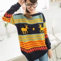 Christmas Striped Reindeer Pattern Women Pullover - $23.98