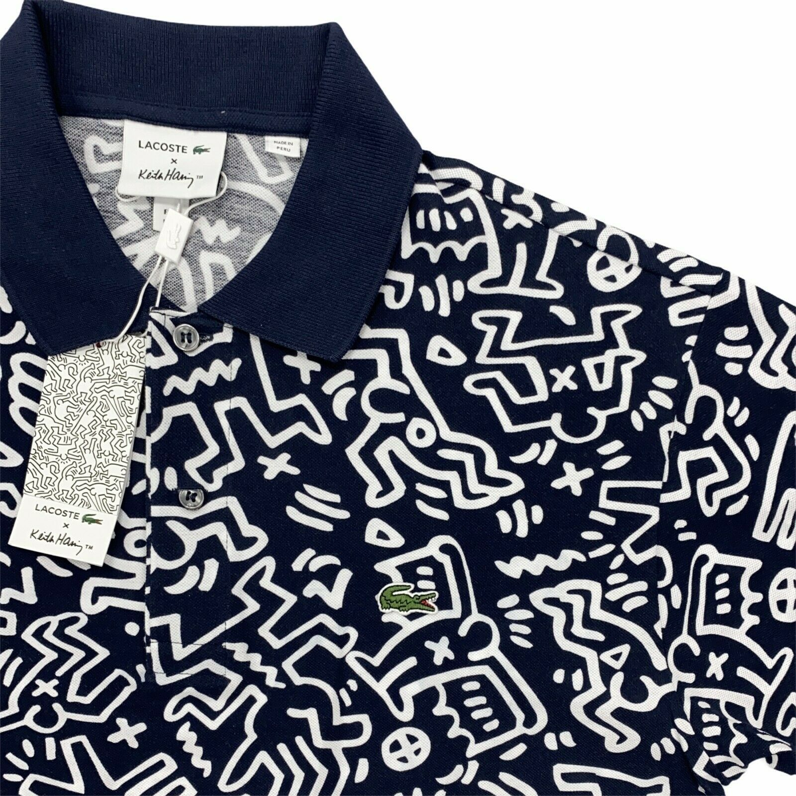 Primary image for New Men's Lacoste x Keith Haring Polo Shirt Allover Print Blue White Pique Knit