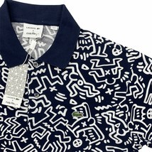 New Men's Lacoste x Keith Haring Polo Shirt Allover Print Blue White Piq... - $149.99