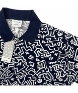 New Men's Lacoste x Keith Haring Polo Shirt Allover Print Blue White Pique Knit - $149.99