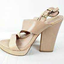 """Vince Camuto leather nude snake pattern straps 5"""" heel block sandals size 8 - $27.07"""