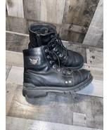 Harley Davidson Boots Mens Black Lace Up Zip Combat Leather Sz 10.5 - $70.13