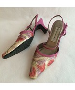 Monzo & Franco Slingback Heels Size 6.5M Floral Embossed Leather Pink to... - $18.00
