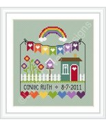 Rainbow Birth Sampler cross stitch chart Little... - $10.80