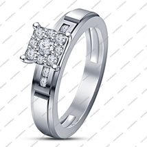 White Sim Diamond 925 Sterling Silver 14k White Gold Fn. Engagement Wedding Ring - £56.62 GBP