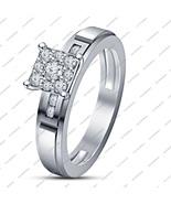 White Sim Diamond 925 Sterling Silver 14k White Gold Fn. Engagement Wedd... - $69.99