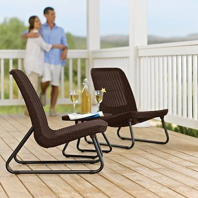 Outdoor Patio Set Bistro Furniture Chairs Table Dining Garden Poolside 3 Piece