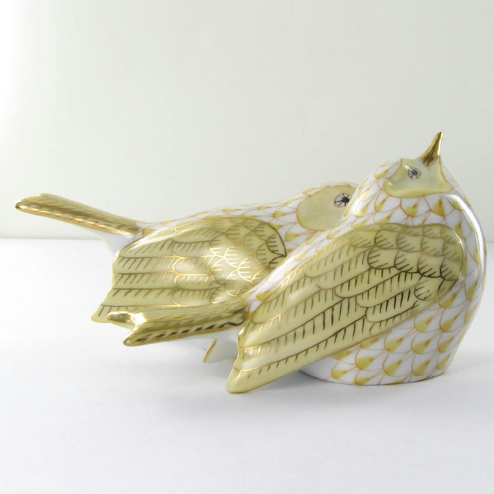 """Herend VHJM-5059-0-00 Love Birds Butterscotch Fishnet 4.5"""" x 2"""" New $490"""