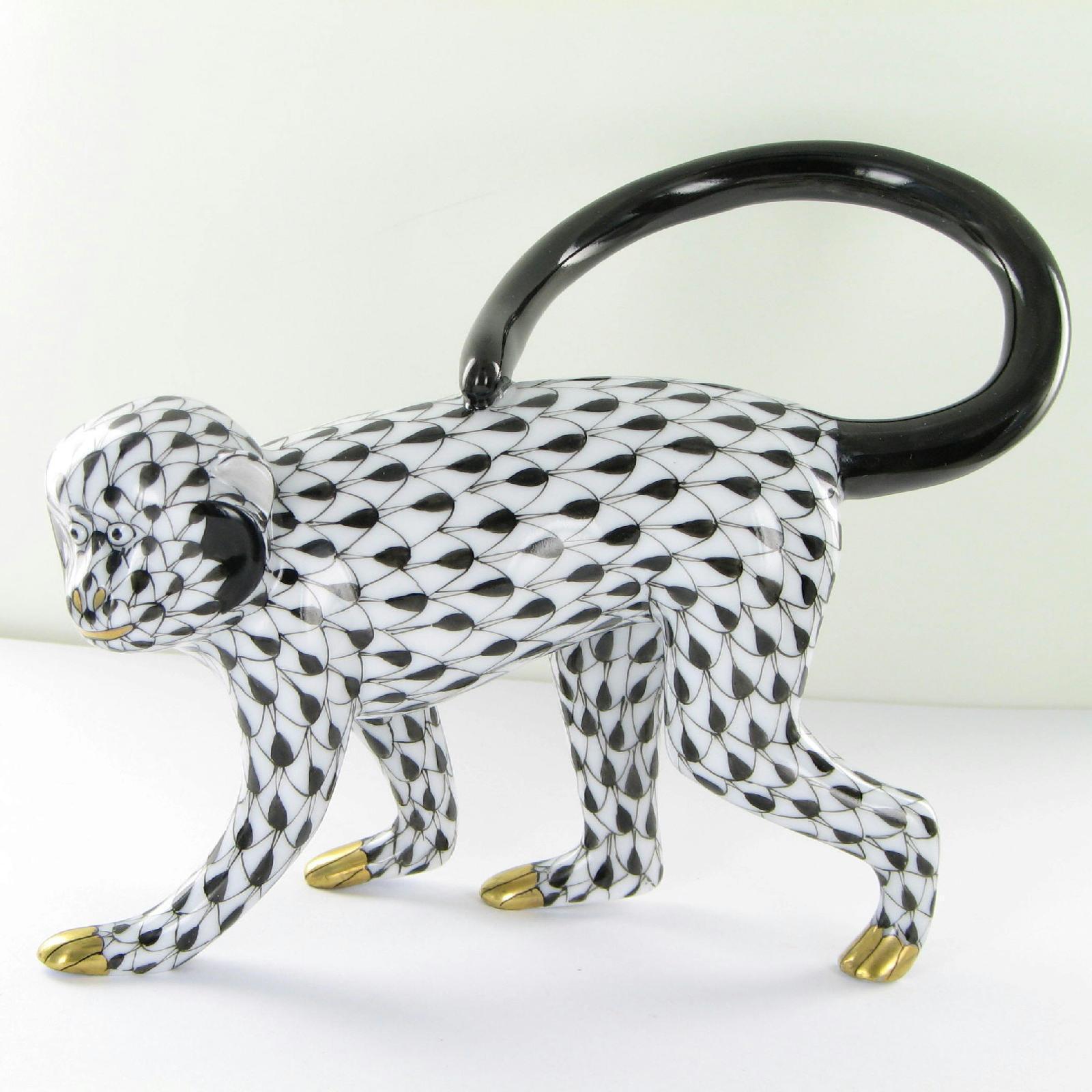 Herend VHP-05355-0-00 Walking Monkey Black Fishnet Curled Back Tail New $350