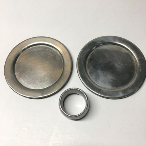 Vintage Wilton Armetale Pewter Colonial Boardman Lot Of 3 Plates Napkin Ring - $19.79