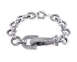 Casual Clear AAA Cubic Zirconia Pave Buckle Open Circle Link Bracelet-ADJ - $39.59