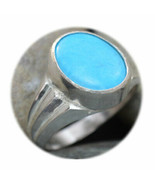 Natural Turquoise Silver Ring Women Mark 10 Carat Sizes K,L,M,N,O,P,Q,R,... - $43.75