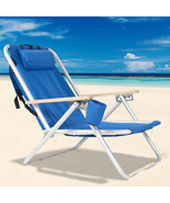 Beach Chair Folding Portable Chair Blue Solid  - £31.54 GBP