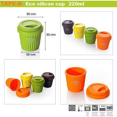 Eco Silicon cupTravel Coffee Tea mug cup lid portable 220ml Brand New to go 1 ea