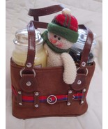 YANKEE CANDLE Winter SNOWMAN Suede Tote with 2 ... - $12.50