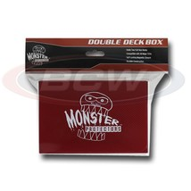 25x MONSTER PROTECTORS DOUBLE DECK BOX - Matte Red - Magnetic Lock - $116.38