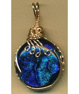 Blue Purple Fused Dichroic Glass Bronze Wire Wrap Pendant 8 - $20.06