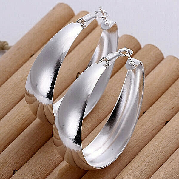 Primary image for Classic Round Hoop Earrings Sterling Silver NEW
