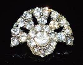 VTG Silver Tone 1940's Art Deco Style Clear Rhinestone Brooch Pin (B) - $19.80