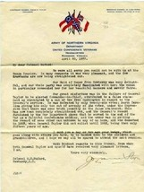 General Stern Signed Letter United Confederate Veterans Army Northern V... - $297.00
